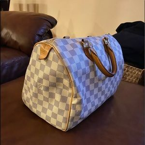 LOUIS VUITTON  Speedy 25 Damier Azur Canvas Bag
